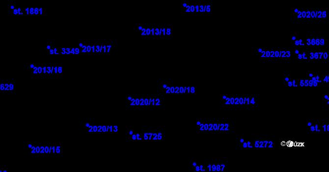 Parcela st. 2020/18 v k.ú. Dvůr Králové nad Labem, Katastrální mapa