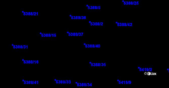 Parcela st. 5388/40 v k.ú. Frýdek, Katastrální mapa
