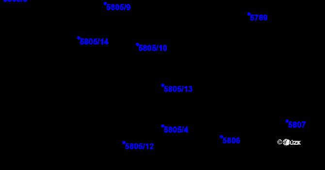 Parcela st. 5805/13 v k.ú. Frýdek, Katastrální mapa