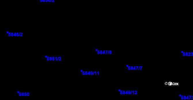 Parcela st. 5847/8 v k.ú. Frýdek, Katastrální mapa