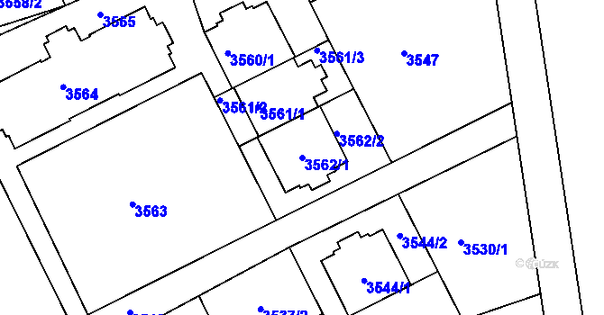 Parcela st. 3562/1 v k.ú. Frýdek, Katastrální mapa