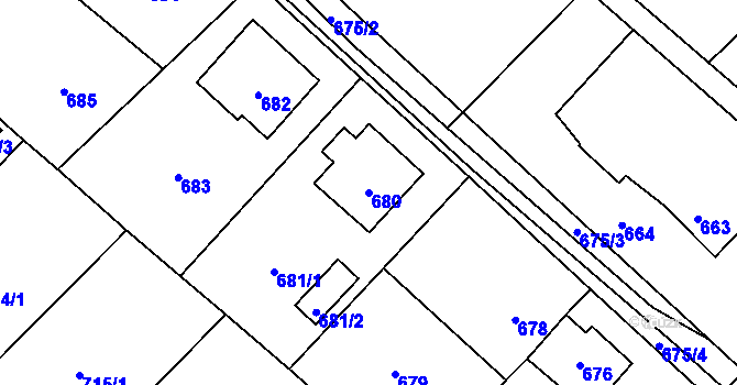 Parcela st. 680 v k.ú. Fryšták, Katastrální mapa