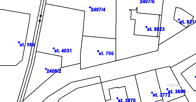 Parcela st. 705 v k.ú. Zlín, Katastrální mapa