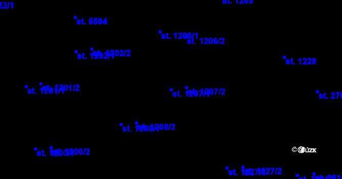 Parcela st. 1207/1 v k.ú. Zlín, Katastrální mapa