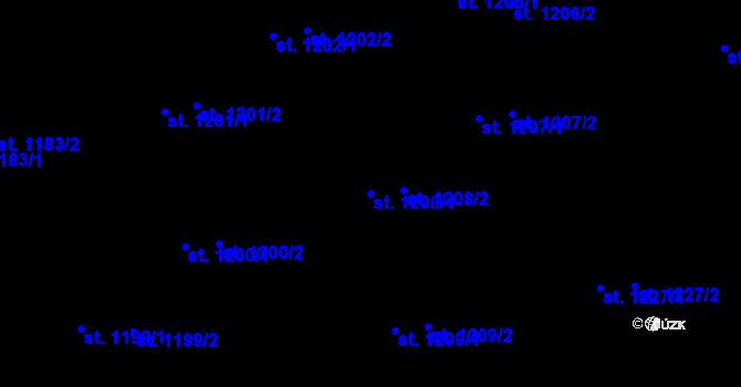 Parcela st. 1208/1 v k.ú. Zlín, Katastrální mapa
