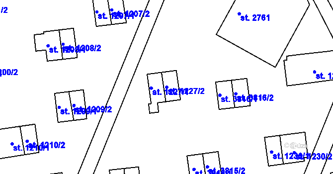 Parcela st. 1227/2 v k.ú. Zlín, Katastrální mapa
