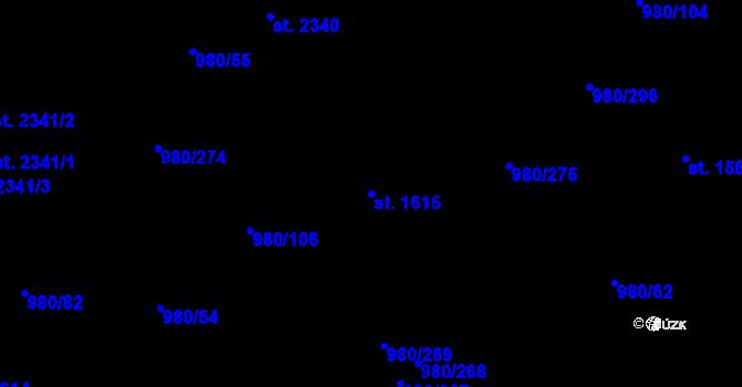 Parcela st. 1615 v k.ú. Zlín, Katastrální mapa