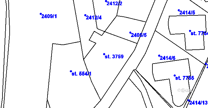 Parcela st. 3759 v k.ú. Zlín, Katastrální mapa