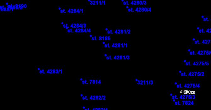 Parcela st. 4281/3 v k.ú. Zlín, Katastrální mapa