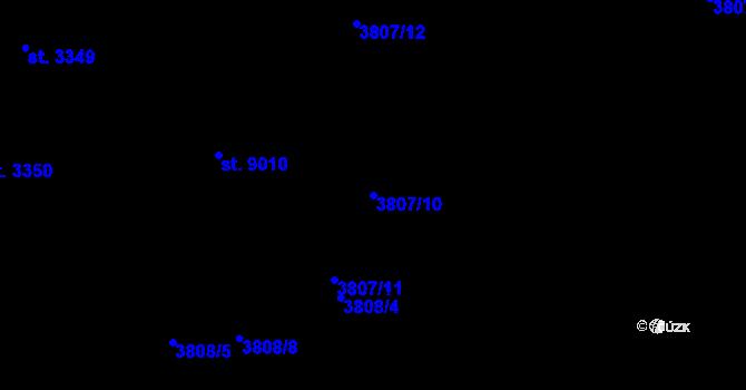 Parcela st. 3807/10 v k.ú. Zlín, Katastrální mapa