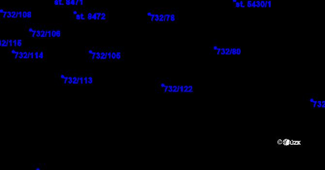 Parcela st. 732/122 v k.ú. Zlín, Katastrální mapa