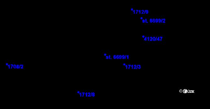 Parcela st. 6699/1 v k.ú. Zlín, Katastrální mapa