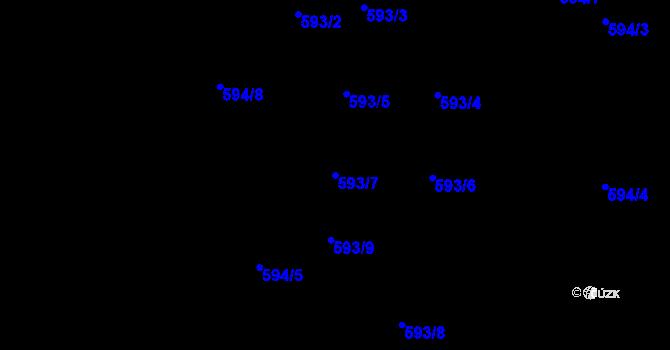 Parcela st. 593/7 v k.ú. Jaroslavice u Zlína, Katastrální mapa