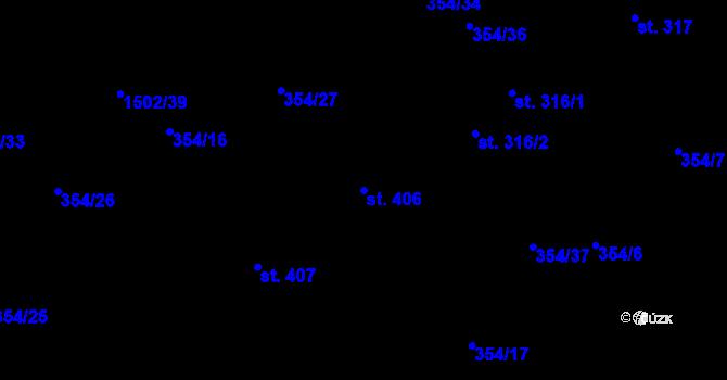 Parcela st. 406 v k.ú. Kudlov, Katastrální mapa