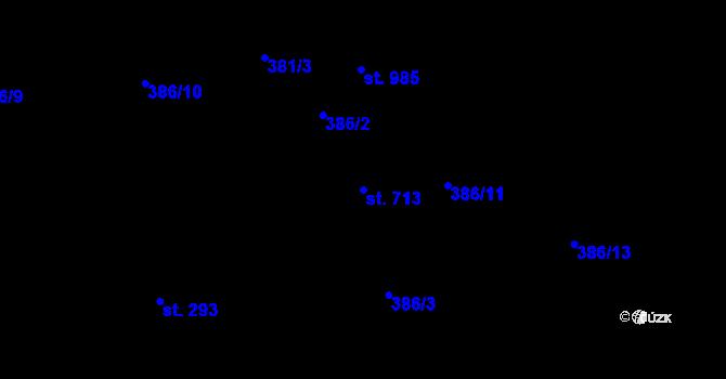 Parcela st. 713 v k.ú. Kudlov, Katastrální mapa