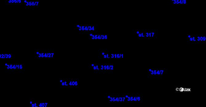 Parcela st. 316/1 v k.ú. Kudlov, Katastrální mapa