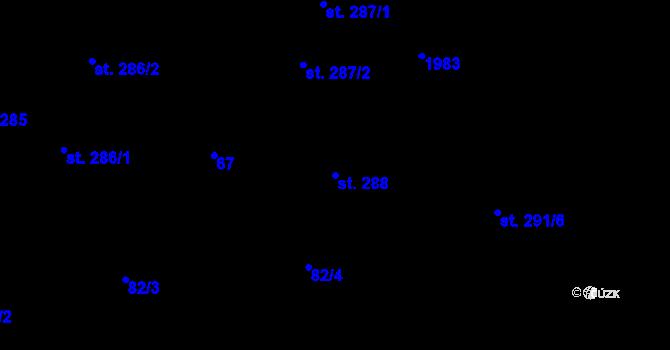 Parcela st. 288 v k.ú. Malenovice u Zlína, Katastrální mapa