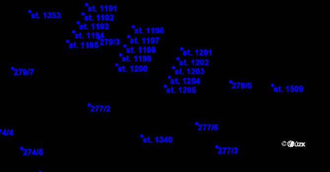 Parcela st. 1205 v k.ú. Malenovice u Zlína, Katastrální mapa