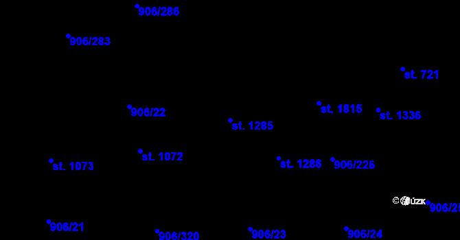 Parcela st. 1285 v k.ú. Malenovice u Zlína, Katastrální mapa