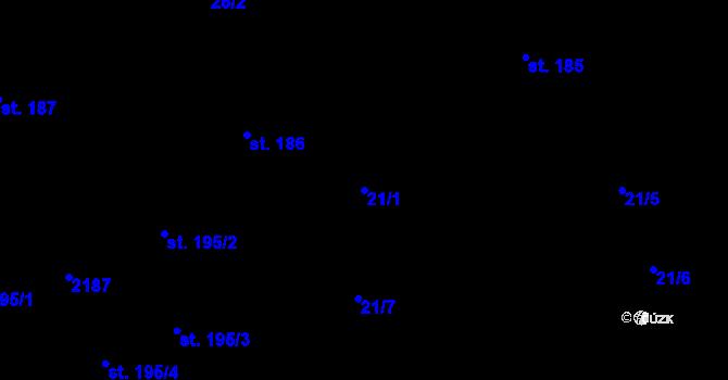 Parcela st. 21/1 v k.ú. Malenovice u Zlína, Katastrální mapa