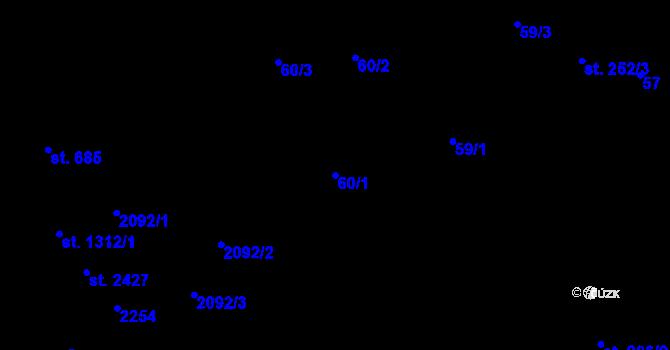 Parcela st. 60/1 v k.ú. Malenovice u Zlína, Katastrální mapa