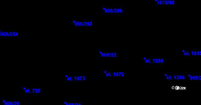 Parcela st. 906/22 v k.ú. Malenovice u Zlína, Katastrální mapa