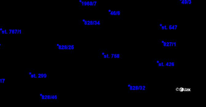 Parcela st. 758 v k.ú. Louky nad Dřevnicí, Katastrální mapa