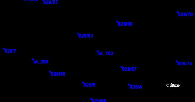 Parcela st. 753 v k.ú. Louky nad Dřevnicí, Katastrální mapa