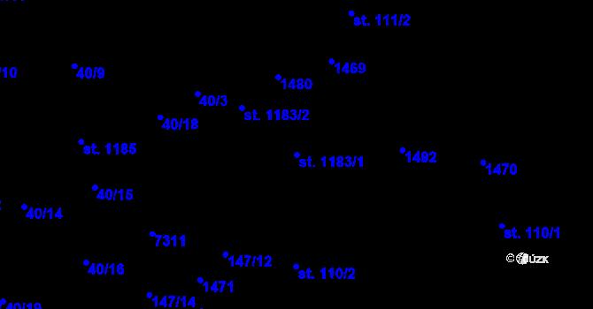 Parcela st. 1183/1 v k.ú. Prštné, Katastrální mapa