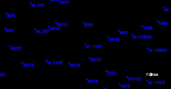 Parcela st. 1185 v k.ú. Prštné, Katastrální mapa