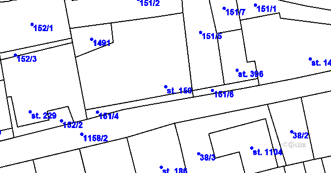 Parcela st. 150 v k.ú. Prštné, Katastrální mapa