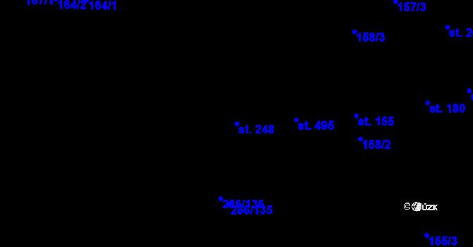 Parcela st. 248 v k.ú. Prštné, Katastrální mapa