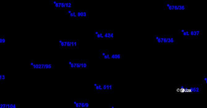 Parcela st. 406 v k.ú. Prštné, Katastrální mapa
