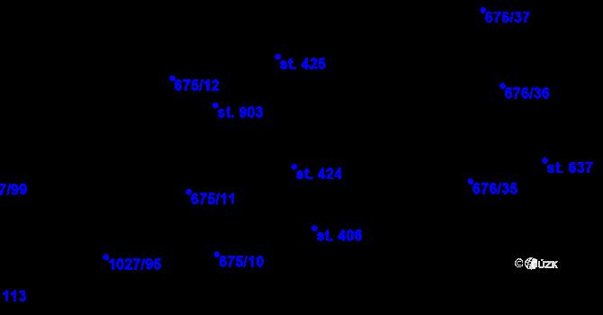 Parcela st. 424 v k.ú. Prštné, Katastrální mapa