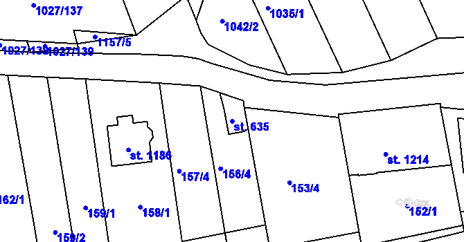 Parcela st. 635 v k.ú. Prštné, Katastrální mapa