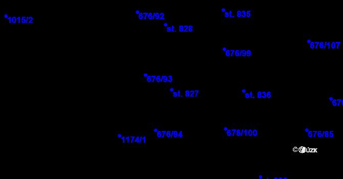 Parcela st. 827 v k.ú. Prštné, Katastrální mapa