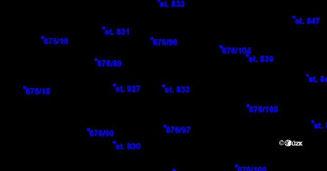 Parcela st. 833 v k.ú. Prštné, Katastrální mapa