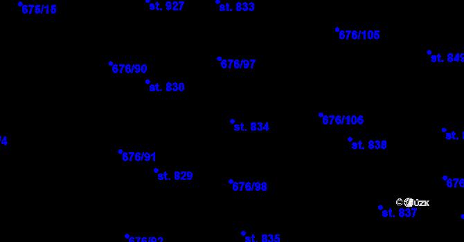 Parcela st. 834 v k.ú. Prštné, Katastrální mapa