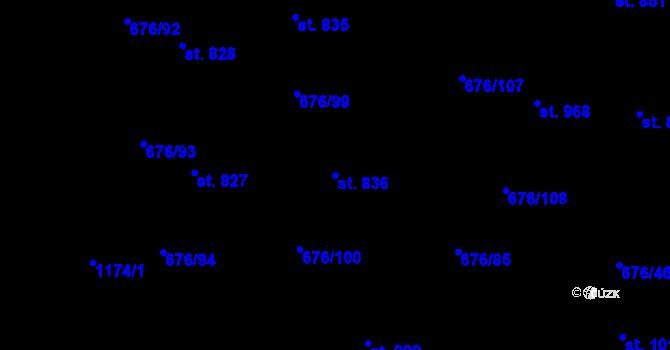 Parcela st. 836 v k.ú. Prštné, Katastrální mapa