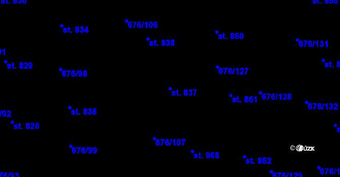 Parcela st. 837 v k.ú. Prštné, Katastrální mapa