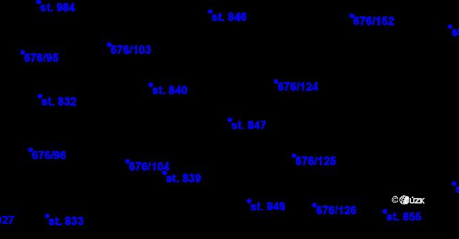 Parcela st. 847 v k.ú. Prštné, Katastrální mapa