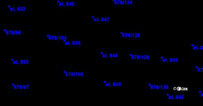 Parcela st. 848 v k.ú. Prštné, Katastrální mapa