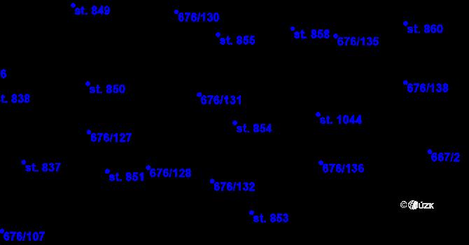 Parcela st. 854 v k.ú. Prštné, Katastrální mapa