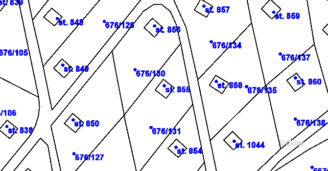 Parcela st. 855 v k.ú. Prštné, Katastrální mapa