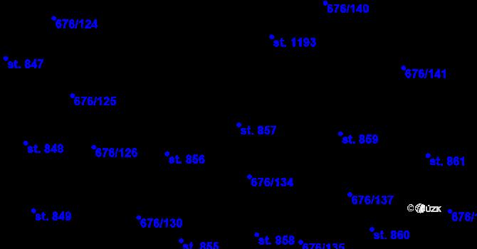 Parcela st. 857 v k.ú. Prštné, Katastrální mapa