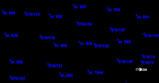 Parcela st. 858 v k.ú. Prštné, Katastrální mapa
