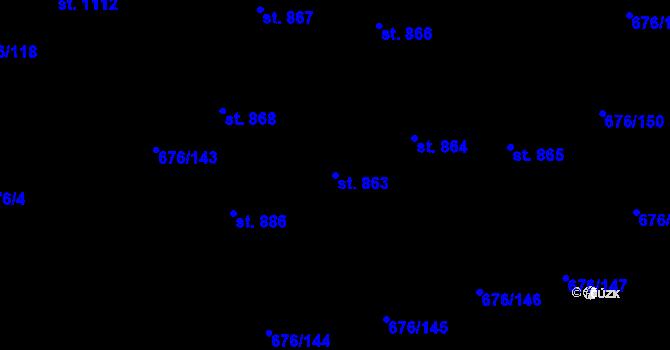 Parcela st. 863 v k.ú. Prštné, Katastrální mapa