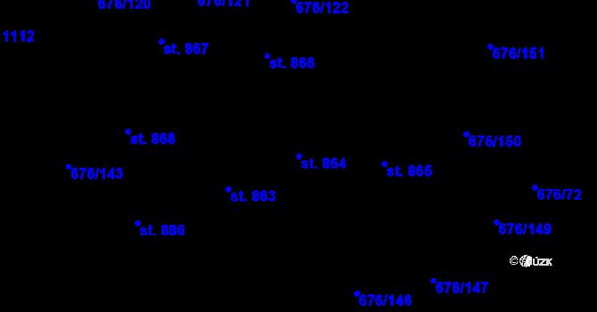 Parcela st. 864 v k.ú. Prštné, Katastrální mapa