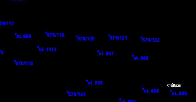 Parcela st. 867 v k.ú. Prštné, Katastrální mapa