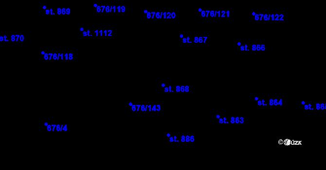 Parcela st. 868 v k.ú. Prštné, Katastrální mapa